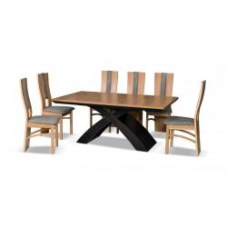 T47 Nowoczesny dębowy stół ze skrzyżnymi nogami