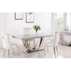 Stół GLAMOUR CHX893 nowoczesny ze stali szlachetnej, szklanym lub marmurowym blatem