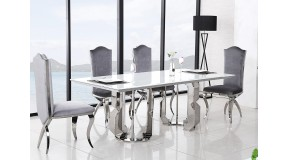 Stół CHX1018 w stylu GLAMOUR, stal szlachetna hartowane białe szkło
