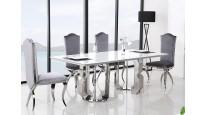 Stół CHX1018 w stylu GLAMOUR, stal szlachetna hartowane szkło marmur
