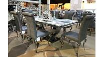 Stół CHX893 nowoczesny ze stali szlachetnej, szklanym lub marmurowym blatem
