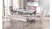 Stół GLAMOUR, CHX780 stal nierdzewna, szklany lub marmurowy blat