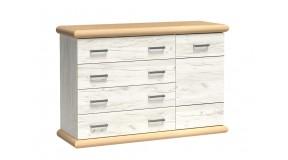 Komoda z szafką i szerokimi szufladami biała DELIA 9