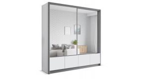 Szafa przesuwna biało-szara z lustrami szuflady 204cm