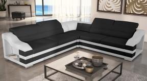 MILTON B czarno-biały elegancki narożnik wypoczynkowy
