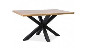 CROSS nierozkładany stół o wymiarach 90x150 połączenie okleiny naturalnej i metalu